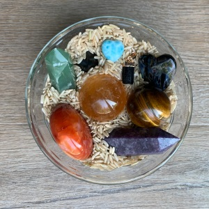 Cleansing crystals in brown rice.